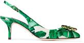 Dolce & Gabbana Embellished Printed Satin Slingback Pumps - Green