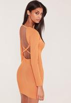 Orange Ribbed Cross Back Bodycon Mini Dress, Peach