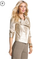 Chico's Faux-Leather Champagne Jacket