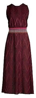 M Missoni Women's Sleeveless Chevron Jacquard A-Line Midi Dress