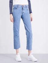 Current/Elliott The Original frayed-hem straight high-rise jeans