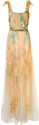Marchesa Off-Shoulder Printed Tulle Gown