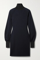 Thumbnail for your product : Victoria Beckham Two-tone Wool-blend Turtleneck Mini Dress - Blue