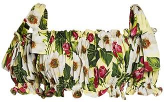 Dolce & Gabbana Floral-Print Tie-Shoulder Crop Top