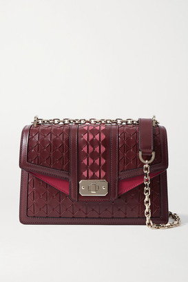 SERAPIAN Diamante Suede-trimmed Woven Leather Shoulder Bag - Burgundy