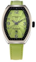 Montres de Luxe Women's EXL A 8304 Estremo Lady Stainless Steel Light Green Sunray Dial Luminous Leather Date Watch