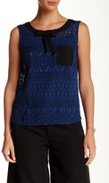 Lavand Sleeveless Sheer Textured Pattern Blouse