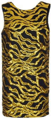 Halpern Sequinned Wave Patterned Shift Mini Dress