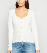 New Look Ribbed Button Front Long Sleeve Top