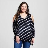 U-knit Women's Plus Size Cold Shoulder Tie Dye Top