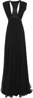 Alberta Ferretti Crepe-paneled Gathered Silk Gown
