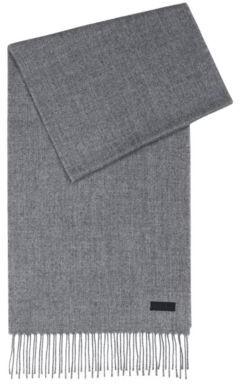 HUGO BOSS Scarf With Reversed Logo Badge - Dark Grey