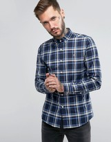 Farah Shirt With Yarn Dyed Flannel Check In Slim Fit Blue