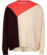 River Island Girls pink block knit slouch sweater