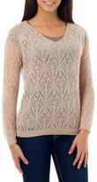 Beige Alpaca Blend Long Sleeve V-neck Knit Sweater Top, 'Nazca Muse'