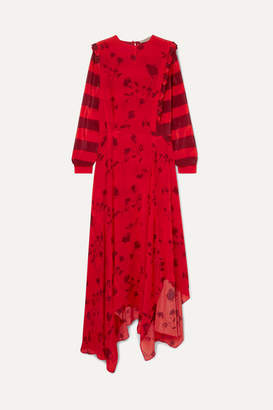 Preen Line Hebe Asymmetric Printed Crepe De Chine Maxi Dress - Red