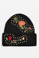 Studded floral beanie hat