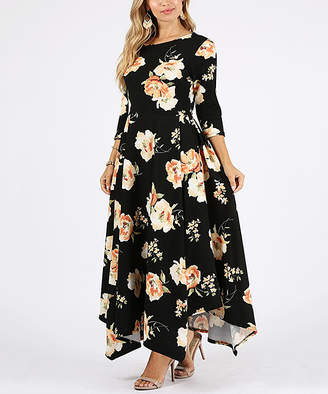 Nema Avenue Women's Casual Dresses black - Black Floral Handkerchief-Hem Maxi Dress - Women & Plus