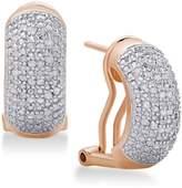 Macy's Diamond Bombay J-Hoop Earrings (1/2 ct. t.w.) in Sterling Silver, 18K Gold-Plated Sterling Silver or 18K Rose Gold-Plated Sterling Silver
