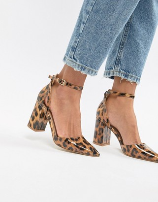 Raid RAID Katy patent leopard print heeled shoes-Multi