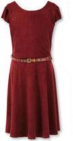 Speechless Short-Sleeve Merlot Knit Faux-Suede Belted Dress - Girls 7-16