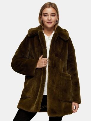 Topshop Tall Velvet Faux Fur Coat - Khaki