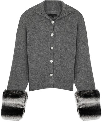Izaak Azanei Grey Fur-trimmed Wool And Cashmere-blend Cardigan