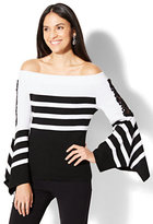 New York & Co. Crochet-Detail Off-The-Shoulder Sweater