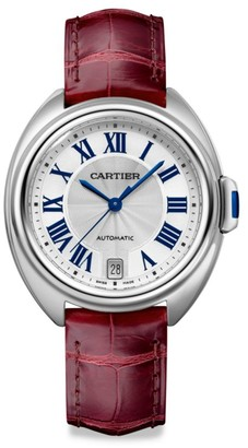 Cartier Cle de Stainless Steel & Red Alligator-Strap Watch/35MM