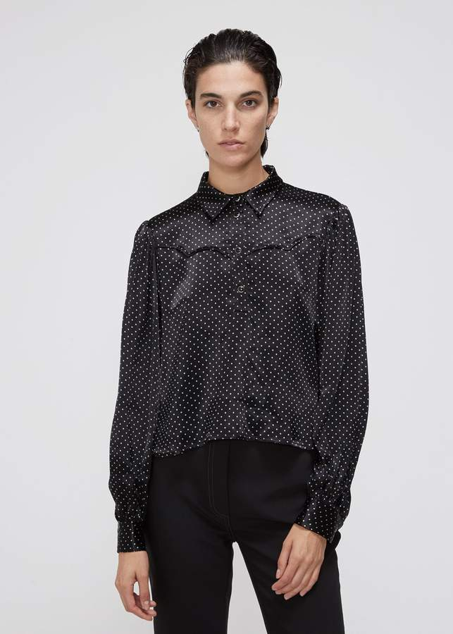 Ganni Long Sleeve Dot Button Down