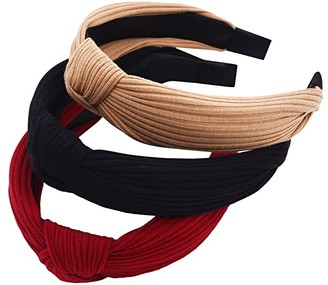 STHUAHE Pack of 3 Women Wide Stripes Cloth Cross Knot Hair Hoop Hairband Headband Hair Accessories (Red Black Khaki)