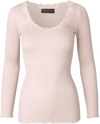 Rosemunde Soft Rose Silk Long Sleeve Blouse with Vintage Lace - s | Soft Rose