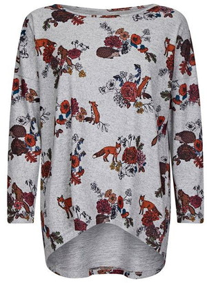 Yumi Funky Fox Grey Relaxed Top With Dipped H