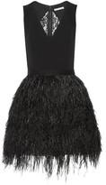 Alice + Olivia Kiara Crepe And Feather-embellished Organza Mini Dress - Black