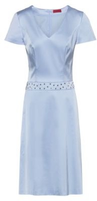 HUGO BOSS A-line dress in stretch fabric with studded waistband