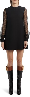 Valentino Long Lace Sleeve Crepe Shift Dress
