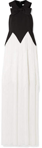 Givenchy Fringed Bow-embellished Wool-crepe Gown - Black