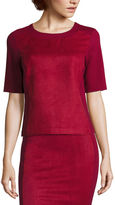 Liz Claiborne Short-Sleeve Faux-Suede Top
