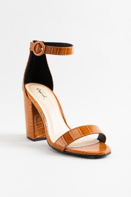 Cognac Sandal Heels | Shop the world's