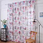 Leemall Paris Pattern Sheer Window Curtains Door Curtains Panels Flower Tulle Scarf Valances for Bedroom (1.45M*1.5M, Pink)