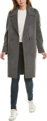 Forte Cashmere Notch Collar Wool & Cashmere-Blend Coat