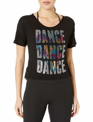 Gia Mia Dance Women's Lace Back Tee Sequin Jazz Hip Hop Yoga Performance Team