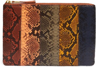 Madewell Colorblock Snake Embossed Leather Pouch Clutch