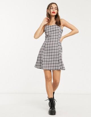 Noisy May cami mini dress in navy check