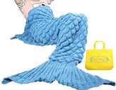 Sun Cling Mermaid Tail Blanket Crochet for Adult Teens Living Room Bedroom Sofa Super Soft Scales Blankets Sleeping Bags-Blue