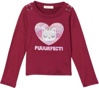 Young Hearts Girls' Tee Shirts BURGA - Burgundy 'Puuurfect' Cat Long-Sleeve Tee - Toddler