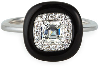 Nikos Koulis Oui 18k White Gold Asscher Diamond Ring with Black Enamel