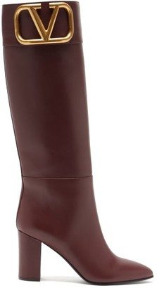 Valentino Supervee V-logo Knee-high Leather Boots - Burgundy
