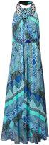 Matthew Williamson Blue Andean Artisan Beaded Silk Chiffon Evening Gown