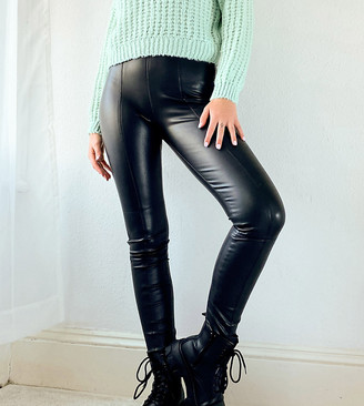 Topshop Tall faux leather sweatpants in black